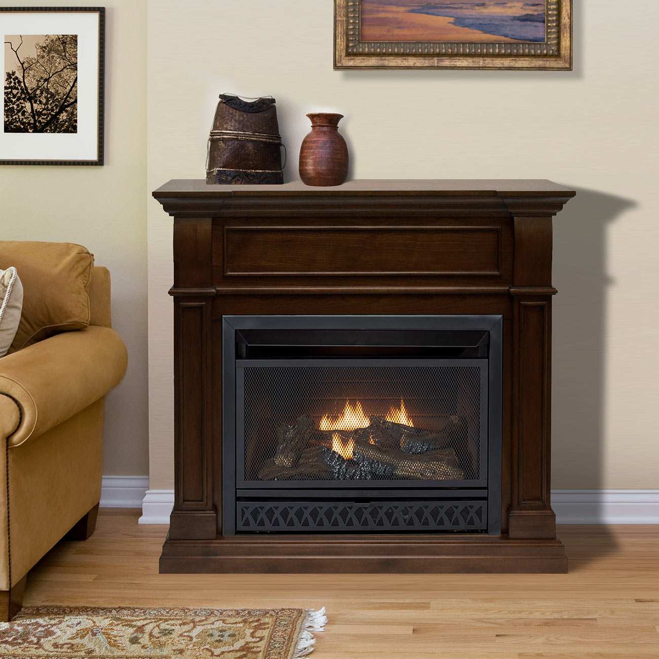 procom ventless dual fuel corner fireplace system walnut finish