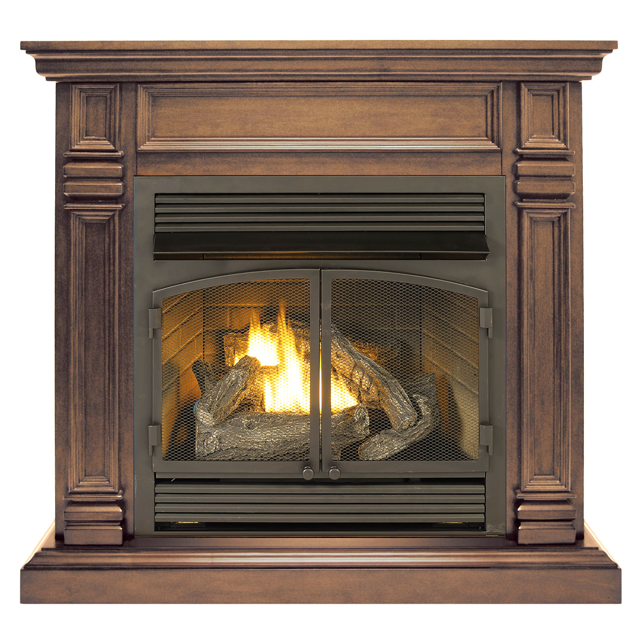 This Ventless Fireplace System with Dual Fuel Technology can quickly heat up a space of over 1