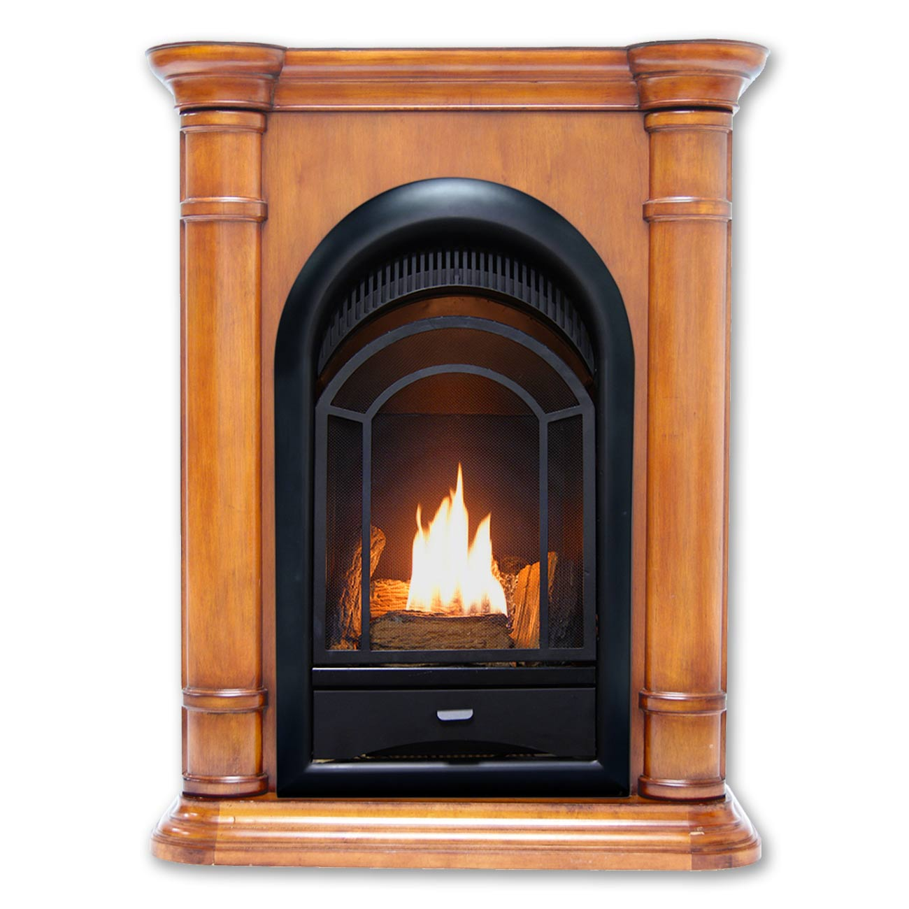 Dual Fuel Ventless Fireplace Corner Combo In Apple Spice Finish U2013 15,000 BTU