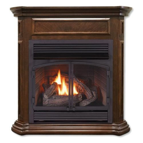 Ventless fireplace system dual fuel technology nutmeg for Fireplace heater system