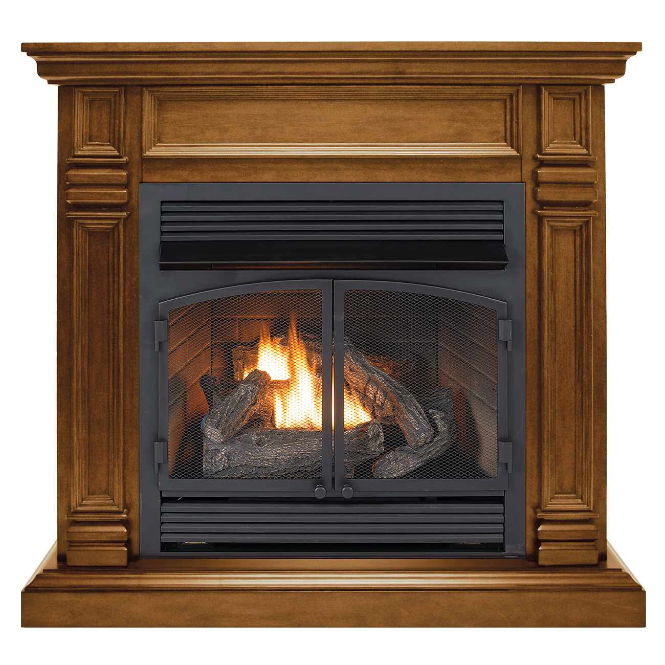 Ventless Fireplace System Dual Fuel Technology Apple Spice Finish With Remote 32 000 Btu
