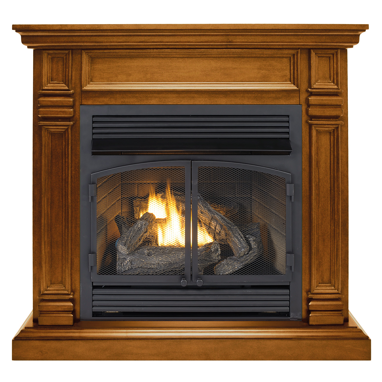 ventless fireplace system dual fuel technology apple spice finish with remote 32 000 btu. Black Bedroom Furniture Sets. Home Design Ideas