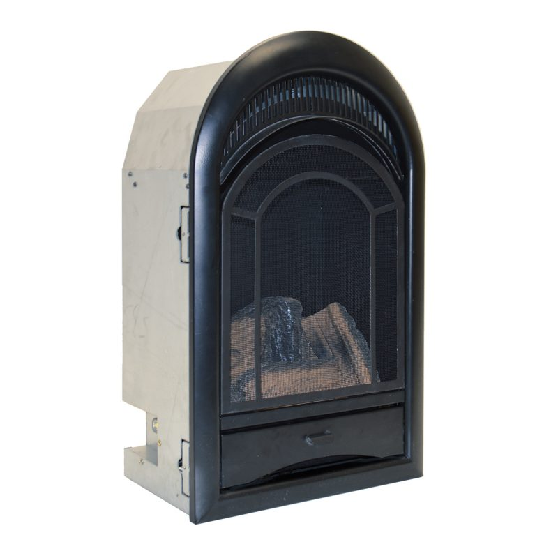 ventless fireplace insert thermostat control arched door btu